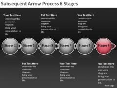 Subsequent Arrow Process 6 Stages Flowcharting Tools PowerPoint Slides