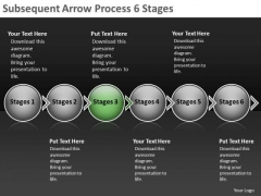 Subsequent Arrow Process 6 Stages Flowcharts PowerPoint Slides
