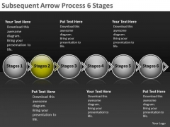 Subsequent Arrow Process 6 Stages Network Mapping Freeware PowerPoint Slides