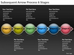 Subsequent Arrow Process 6 Stages Production Flow Charts PowerPoint Templates