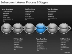 Subsequent Arrow Process 6 Stages Vision Flowchart Templates PowerPoint