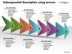 Subsequential Description Using Arrows 7 Stages Online Flowchart PowerPoint Slides