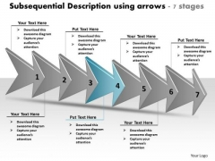 Subsequential Description Using Arrows 7 Stages Order Flow Chart PowerPoint Slides