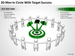 Successful Business Men 3d Circle With Target PowerPoint Slides