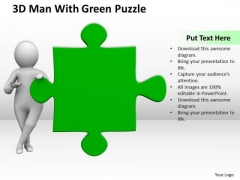 Successful Business Men 3d Man With Green Puzzle PowerPoint Templates