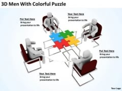 Successful Business Men 3d With Colorful Puzzle PowerPoint Slides