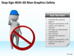 Successful Business Men Stop Sign With 3d Man Grahics Safety PowerPoint Slides