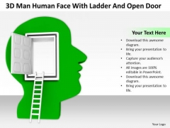 Successful Business People 3d Man Human Face With Ladder And Open Door PowerPoint Slides