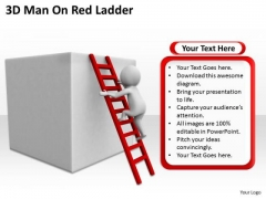 Successful Business People 3d Man On Red Ladder PowerPoint Templates
