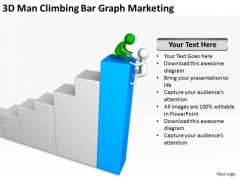 Successful Business People 3d Men Climbing Bar Graph Marketing PowerPoint Templates