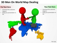 Successful Business People 3d Men On World Map Dealing PowerPoint Templates