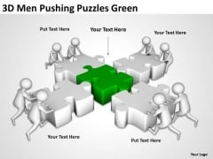 Successful Business People 3d Men Pushing Puzzles Green PowerPoint Templates
