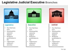 Supreme Legislative Judicial Executive Branches PowerPoint Slides And Ppt Template Diagrams