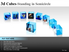 Surface 3d Cube Standing In Semicircle PowerPoint Slides And Ppt Diagram Templates