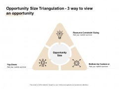 TAM SAM And SOM Opportunity Size Triangulation 3 Way To View An Opportunity Ppt Pictures Inspiration PDF