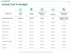 TCM Actual Cost Vs Budget Ppt Layouts Layouts PDF
