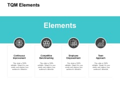 TQM Elements Ppt PowerPoint Presentation Styles Summary