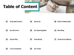 Table Of Content About Us Ppt PowerPoint Presentation Outline Clipart Images