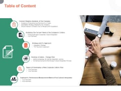 Table Of Content Cultural Integration In Company Ppt PowerPoint Presentation Ideas Introduction PDF