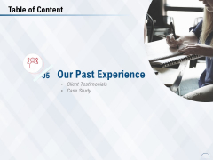 Table Of Content Experience Ppt PowerPoint Presentation Summary Graphics Tutorials