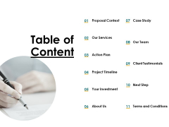 Table Of Content Investment Ppt PowerPoint Presentation Infographic Template Graphics Template
