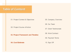Table Of Content Objectives Ppt PowerPoint Presentation Slides Gridlines