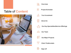 Table Of Content Ppt PowerPoint Presentation Gallery Slide Portrait