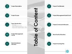 Table Of Content Ppt PowerPoint Presentation Model Microsoft