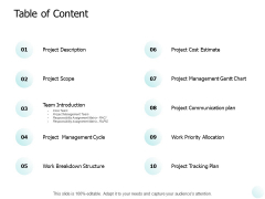 Table Of Content Ppt PowerPoint Presentation Show Pictures