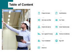 Table Of Content Ppt PowerPoint Presentation Slides Backgrounds
