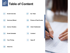 Table Of Content Ppt PowerPoint Presentation Slides Guide