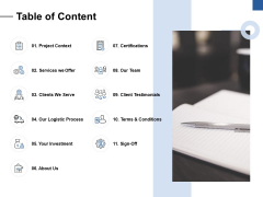 Table Of Content Ppt PowerPoint Presentation Summary Shapes
