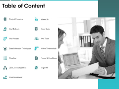 Table Of Content Process Investment Ppt PowerPoint Presentation File Example