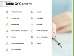 Table Of Content Process Investment Ppt PowerPoint Presentation Inspiration Skills