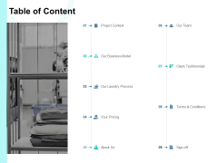 Table Of Content Project Context Ppt PowerPoint Presentation Icon Inspiration