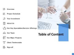Table Of Content Service Offerings Ppt Powerpoint Presentation Layouts Diagrams
