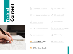 Table Of Content Slide Commitments Ppt PowerPoint Presentation Summary Background Image