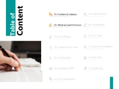 Table Of Content Slide Solution Ppt PowerPoint Presentation Gallery Visual Aids