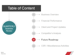 Table Of Content Template 4 Ppt PowerPoint Presentation File Slide