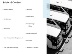 Table Of Content Transportation Requirements Ppt PowerPoint Presentation Infographic Template Templates