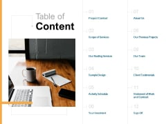 Table Of Content Your Investment Ppt PowerPoint Presentation Slides Icon