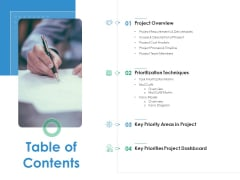 Table Of Contents Action Priority Matrix Ppt Model Ideas PDF