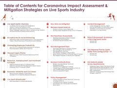 Table Of Contents Coronavirus Impact Assessment Mitigation Strategies Live Sports Industry Rules PDF