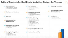 Table Of Contents For Real Estate Marketing Strategy For Vendors Designs PDF