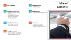 Table Of Contents Initiatives And Process Of Content Marketing For Acquiring New Users Icons PDF