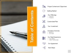 Table Of Contents Investment Ppt PowerPoint Presentation Infographics Rules