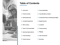 Table Of Contents Market Opportunity Ppt PowerPoint Presentation Professional Master Slide
