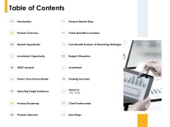 Table Of Contents Market Opportunity Ppt PowerPoint Presentation Slides Show