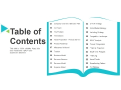 Table Of Contents Ppt PowerPoint Presentation File Deck