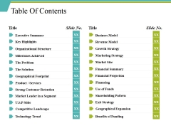 Table Of Contents Ppt PowerPoint Presentation Inspiration Elements